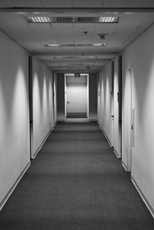 [365.230] Empty <i>Alameda, California — August 18, 2009</i>  The main hallway in our office building at 6:30 am. No one is here at this hour -- not even the security guards.  © Brendan Cox — All Rights Reserved