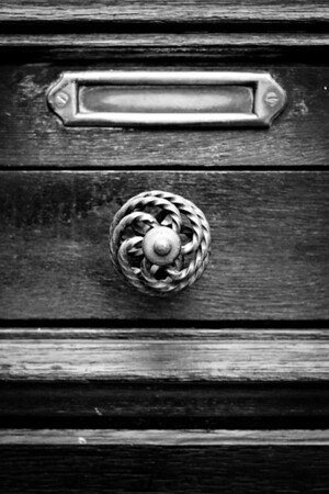 [365.159] Doorknob <i>Arles, France — June 2009</i>  These hollow metal spiral doorknobs were very common in Arles. I really like them. :)  © Brendan Cox — All Rights Reserved