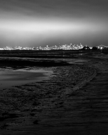 [365.041] Glow over San Francisco <i>Alameda, California — February 10, 2009</i>  Sometimes, you brave the dark, the wind, the cold, and the rain, and end up with junk. :(    There was a great glow over the city and a nice reflection in the water, but my photographs turned out pretty bad. At least I know to come back here (maybe when it's a few degrees warmer) and try for something better.  © Brendan Cox — All Rights Reserved