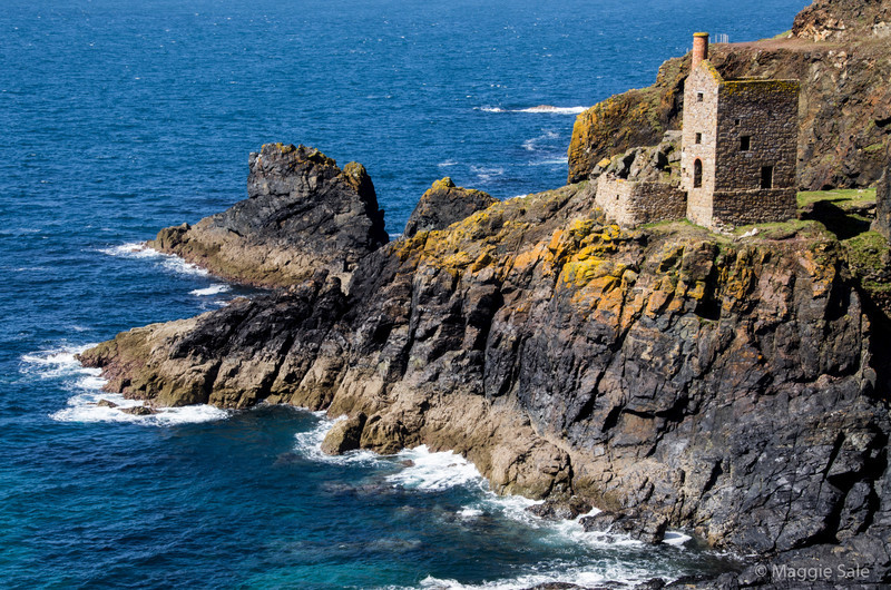 On the north Cornish coast around St. Just there are the remains of tin mines, many very close to the sea as they mined under the sea bed. This one at Botallack is at the bottom of a cliff. How did they ever build and mine them in the 19C? Amazing!
