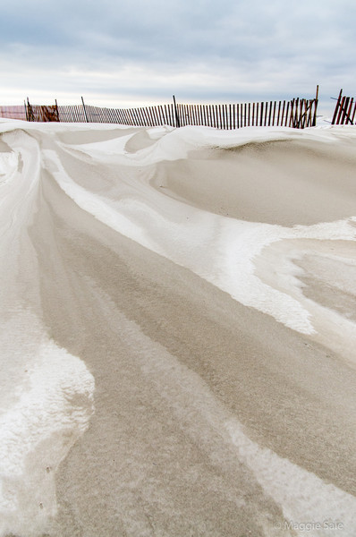 Sand and snow dunes on Wasaga Beach - on a very windy Jan. 4th