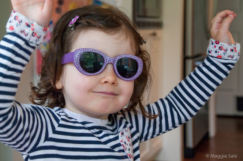 The next generation rock star - granddaughter Holly, putting on the glitz!