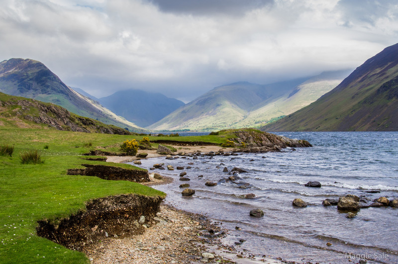 While Julian and Steve were off climbing the last of the top 40 mountains in the Lake District (right hand in the cloud - congrats guys), Jayce and I explored the shores of Wastwater in a strong eastery wind. I used to spend holidays here as a child!