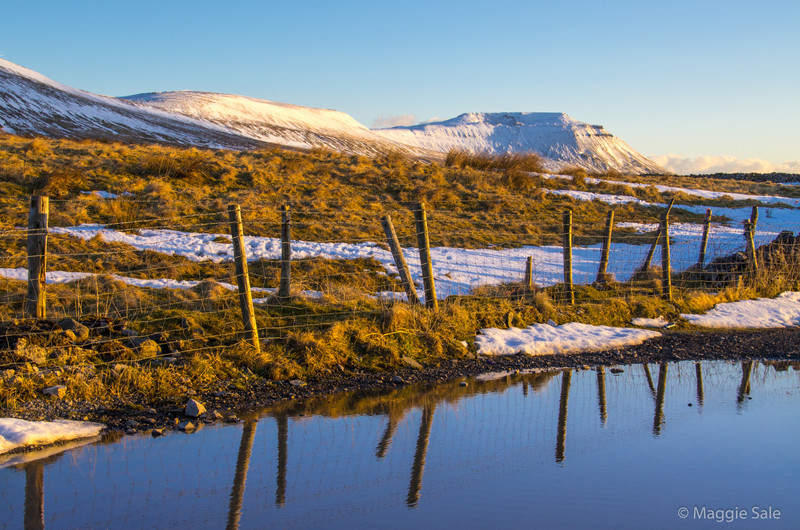 Winter is still in evidence in the Yorkshire hills (and the Lake District). This  shot of Ingleborough was taken near sunset on a windy, cold  but clear day.