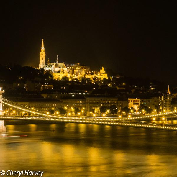Castle Hill & Chain Bridge At Night, Budapest, Hungary
