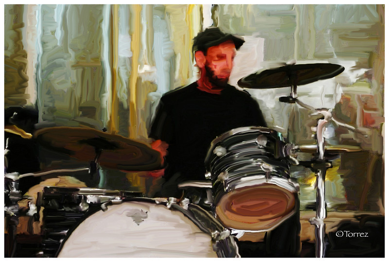 Digitally Manipulated Drummer, Downtown Los Angeles Art Walk