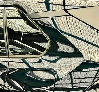 Overhead Grid Car Reflections, Portland, 2020