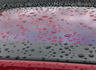 Sun Roof Reflections with Raindrops, Astoria,2018