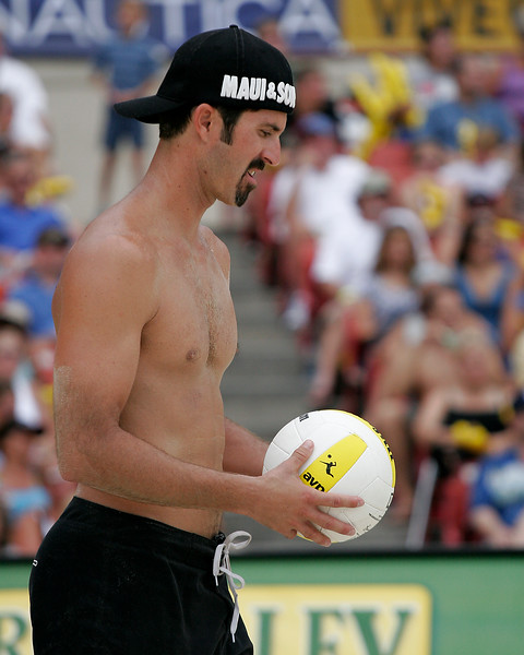 Todd Rogers prepares to serve