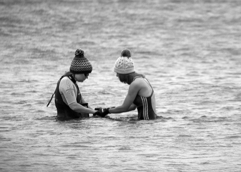 Girls in the water B & W.jpg
