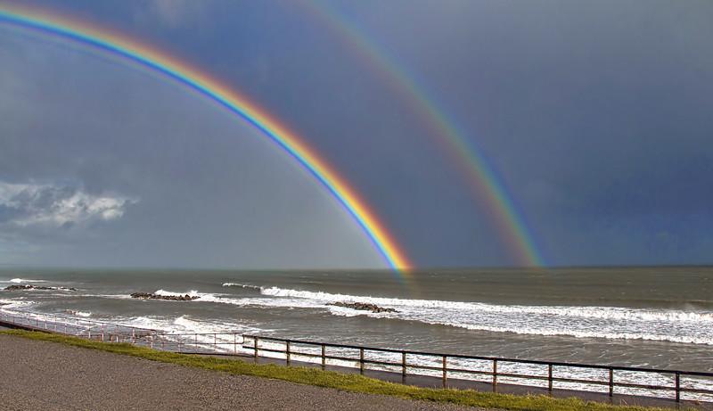 Aberdeen Beach with a double Rainbow