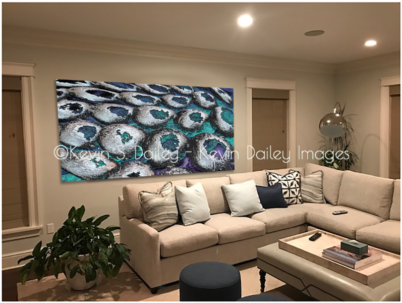 """""""Time Passes By"""" digitally hung for approval in a prospect client's home"""