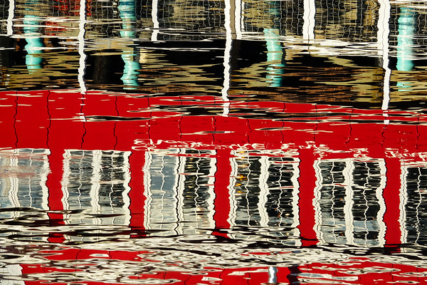 Water Reflections. Cafe, Friday Harbor, Wa.