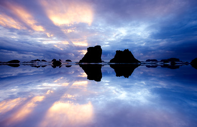 Bandon Beach, Oregon,Sunset, Mirror effect
