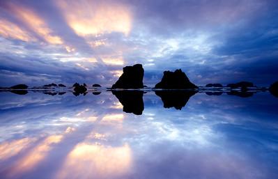 Bandon Beach, Oregon,Sunset, Mirror effect
