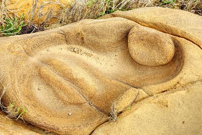 Cyclops Face in Sandstone, Point Lobos Ca.