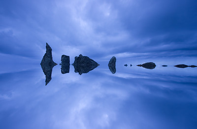 Sea Stacks with mirror effect, Bandon Beach, Or.