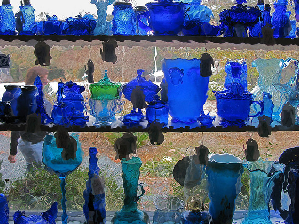 'blue glass @ the Ivy Tree consignment shop' (canon g9)