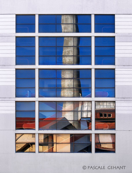 Reflection with smokestack