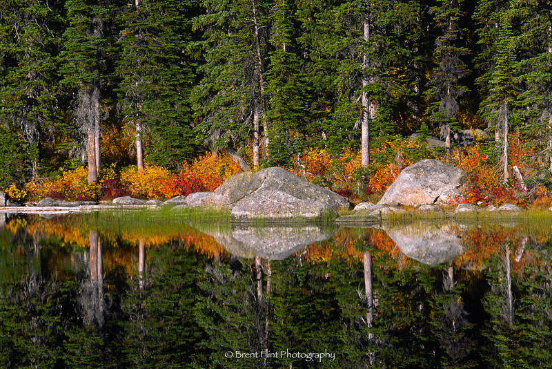 S.4666 - Boulders & forest reflections, Pyramid Lake, Kaniksu National Forest, ID.