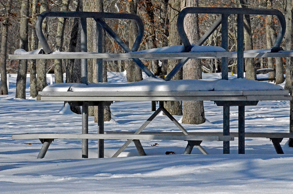 Picnic Tables Waiting Out The Winter