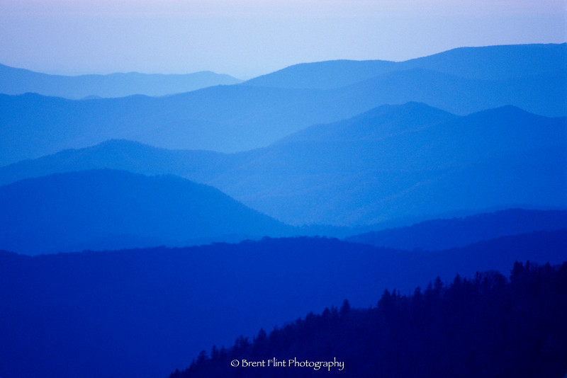S.3068 - stacked mountains, Clingman's Dome parking lot, Great Smoky Mountains National Park, NC.