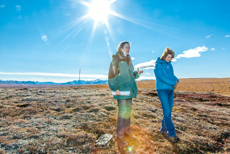 """Donie Bret-Harte, associate science director at UAF's Toolik Field Station, explains some of the research efforts underway near the arctic facility with U.S. Senator Lisa Murkowski during a brief tour in Sept. 2013.  <div class=""""ss-paypal-button"""">Filename: AAR-13-3929-372.jpg</div><div class=""""ss-paypal-button-end""""></div>"""