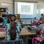 Students in CTC's medical assisting program gather in a classroom to watch a training video at the program's facility on Barnette Street in downtown Fairbanks.