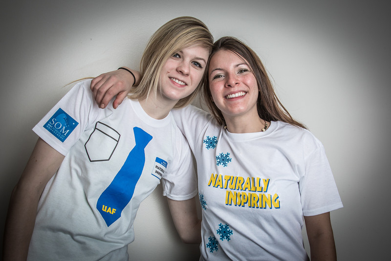 """School of Management students Christine Rosini, left, and Jessica Raymond pose in their inspiring t-shirts made for a class project.  <div class=""""ss-paypal-button"""">Filename: AAR-12-3671-31.jpg</div><div class=""""ss-paypal-button-end"""" style=""""""""></div>"""