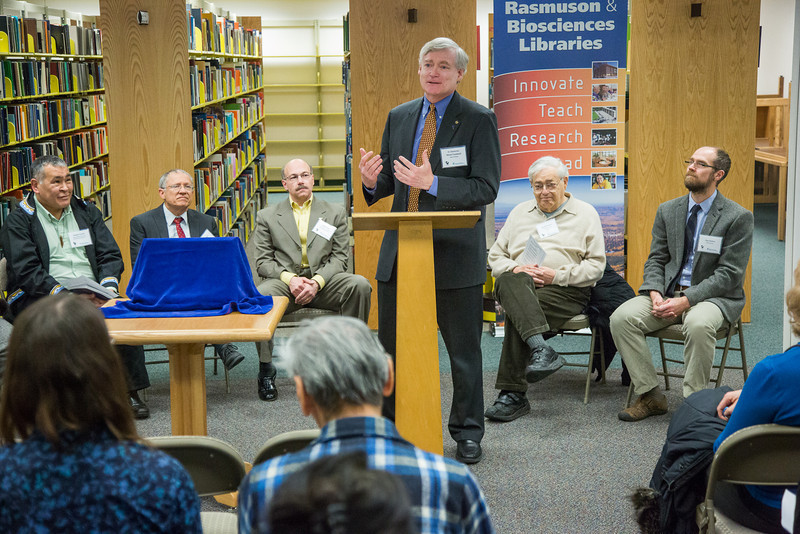 """Alaska Lt. Governor Mead Treadwell speaks to the attendees of the Michael E. Krauss Alaska Native Language Archive dedication ceremony Feb. 22, 2013, at the Rasmuson Library.  <div class=""""ss-paypal-button"""">Filename: AAR-13-3743-69.jpg</div><div class=""""ss-paypal-button-end"""" style=""""""""></div>"""