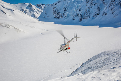 A team lead by Research Assistant Professor Anna Liljedahl sets off via helicopter to sample snow depths on the Jarvis Glacier, about 35 miles south of Delta Junction.  Filename: AAR-13-3795-236.jpg