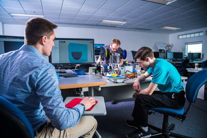 """Students take advantage of the facilities in UAF's Community and Technical College's 3-D print lab in downtown Fairbanks.  <div class=""""ss-paypal-button"""">Filename: AAR-16-4857-123.jpg</div><div class=""""ss-paypal-button-end""""></div>"""
