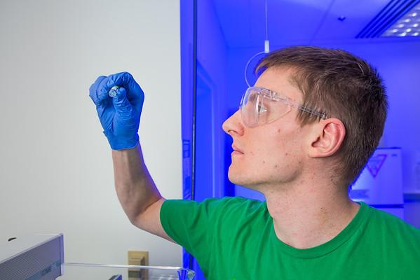 "Chemistry major James Micah Simmerman completes a procedure in a Reichardt Building lab.  <div class=""ss-paypal-button"">Filename: AAR-12-3598-134.jpg</div><div class=""ss-paypal-button-end"" style=""""></div>"