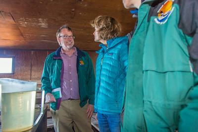 Brian Barnes, director of UAF's Institute of Arctic Biology, visits with U.S. Senator Lisa Murkowski during the senator's brief visit to IAB's Toolik Field Station on Alaska's North Slope in Sept, 2013.  Filename: AAR-13-3929-255.jpg