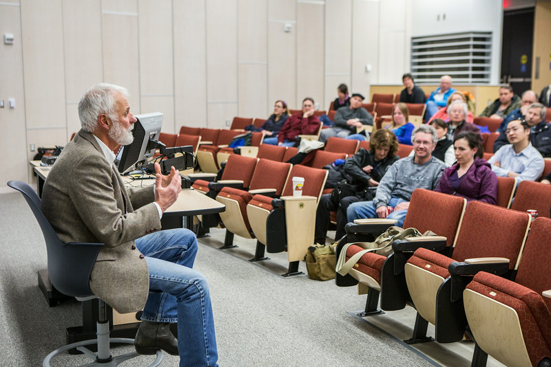 "Snedden Chair Richard Murphy of the Journalism Department speaks about his winter project at the Murie Building.  <div class=""ss-paypal-button"">Filename: AAR-14-4137-26.jpg</div><div class=""ss-paypal-button-end""></div>"