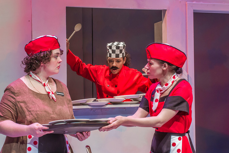 """Cast members rehearse a scene from Theatre UAF's  production of """"Nickel and Dimed"""" in the Salisbury Theatre.  <div class=""""ss-paypal-button"""">Filename: AAR-13-3974-21.jpg</div><div class=""""ss-paypal-button-end"""" style=""""""""></div>"""