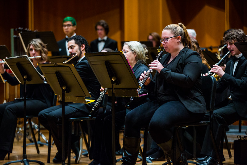 """Members of the UAF Wind Symphony warm up prior to their concert on Nov. 18, 2016.  <div class=""""ss-paypal-button"""">Filename: AAR-16-5070-48.jpg</div><div class=""""ss-paypal-button-end""""></div>"""