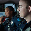 "UAF student firefighters/EMTs Lillian Hampton and Paul Young prepare to respond to an emergency call from the front of an ambulance housed in the Whitaker Building on the Fairbanks campus.  <div class=""ss-paypal-button"">Filename: AAR-11-3223-86.jpg</div><div class=""ss-paypal-button-end"" style=""""></div>"