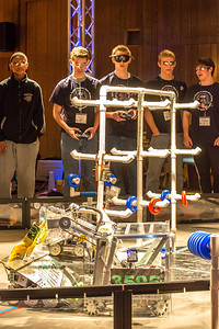 High school students from throughout Interior Alaska squared off in the Wood Center ballroom in February for an annual robotics competition.  Filename: AAR-13-3729-51.jpg