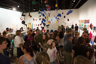 Students exhibit their artwork at the final exhibition at the UAF Art Gallery.  Filename: AAR-16-4917-172.jpg