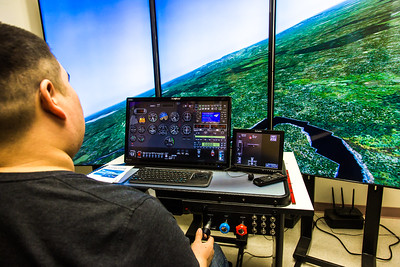 Community members take flight school classes in a state-of-the-art simulator at UAF's Bristol Bay Campus in Dillingham.  Filename: AAR-16-4860-330.jpg