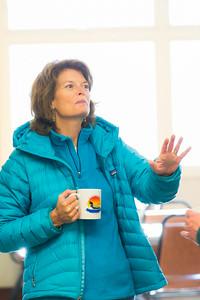 During a brief visit to UAF's Toolik Field Station in Sept., 2013, U.S. Senator Lisa Murkowski enjoys a hot beverage in the dining hall.  Filename: AAR-13-3929-410.jpg