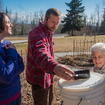Nicole Dunham, Shaun Johnson and Jan Dawe with OneTree Alaska check the angle of a bucket set up to collect birch sap from a tree in front of the chancellor's residence on the UAF campus. On ...