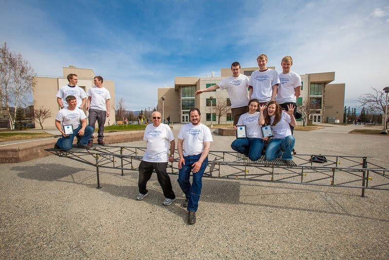 """Members of the 2012 UAF Steel Bridge team pose in front of the Duckering Building on the Fairbanks campus.  <div class=""""ss-paypal-button"""">Filename: AAR-12-3388-51.jpg</div><div class=""""ss-paypal-button-end"""" style=""""""""></div>"""