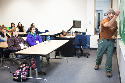 Dr. Eduardo Wilner teaches visiting high school students in a mock philosophy class during Discover UAF's InsideOut program in late Oct. 2012 at the Gruening Building.  Filename: AAR-12-3614-81.jpg