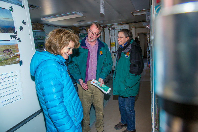 """Institute of Arctic Biology director Brian Barnes and Donie Bret-Harte, associate science director at UAF's Toolik Field Station, lead Senator Lisa Murkowski on a tour of some of the lab facilities at the arctic research station, located about 330 miles north of Fairbanks on Alaska's North Slope.  <div class=""""ss-paypal-button"""">Filename: AAR-13-3929-236.jpg</div><div class=""""ss-paypal-button-end""""></div>"""