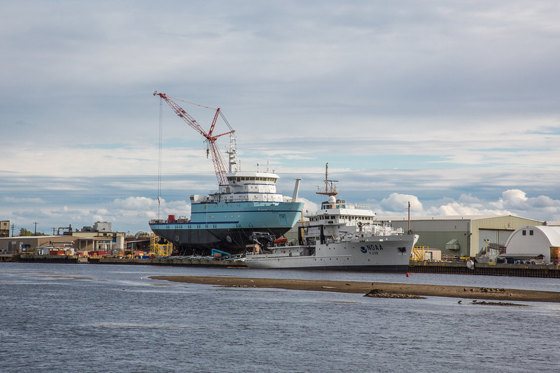 """The R/V Sikuliaq sits on the pad at Marinette Marine Corporation in Marinette, Wisc., a day before it's official launch  <div class=""""ss-paypal-button"""">Filename: AAR-12-3591-06.jpg</div><div class=""""ss-paypal-button-end"""" style=""""""""></div>"""