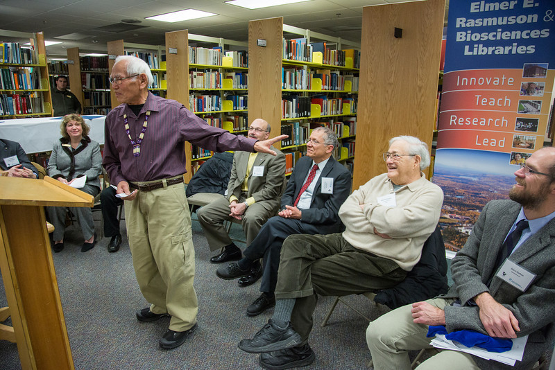 """The Michael E. Krauss Alaska Native Archive is dedicated in a ceremony Feb. 22, 2013, at the Rasmuson Library.  <div class=""""ss-paypal-button"""">Filename: AAR-13-3743-25.jpg</div><div class=""""ss-paypal-button-end"""" style=""""""""></div>"""