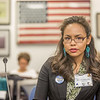 Malorie Johnson, a senior in UAF's rural development program from Unalakleet, presents testimony before a committee of her peers during a mock legislative hearing as part of a weeklong seminar on understanding the legislative process in Juneau.  Filename: AAR-14-4056-60.jpg