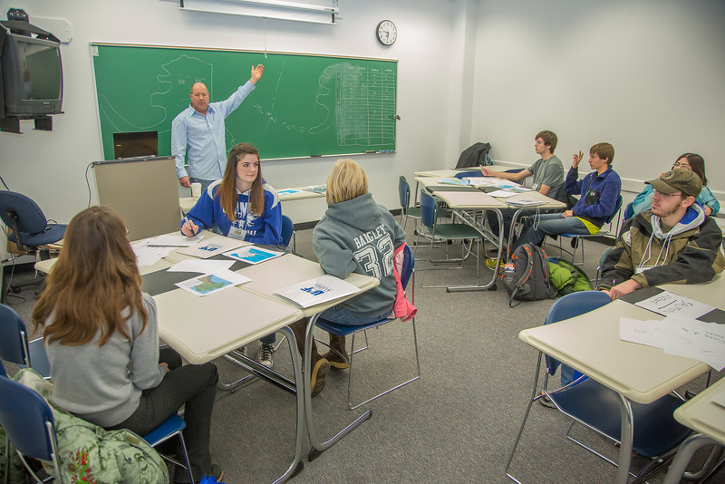 "Faculty member Dave Veazey leads a mock geography class during an Inside Out event in a Gruening Building classroom.  <div class=""ss-paypal-button"">Filename: AAR-12-3609-47.jpg</div><div class=""ss-paypal-button-end"" style=""""></div>"